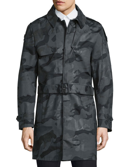 Valentino Camouflage Belted Trench Coat, Black/Multi