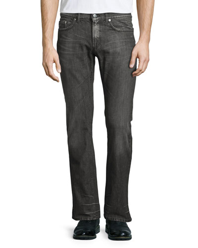 Slim-Fit Straight-Leg Jeans, Silver