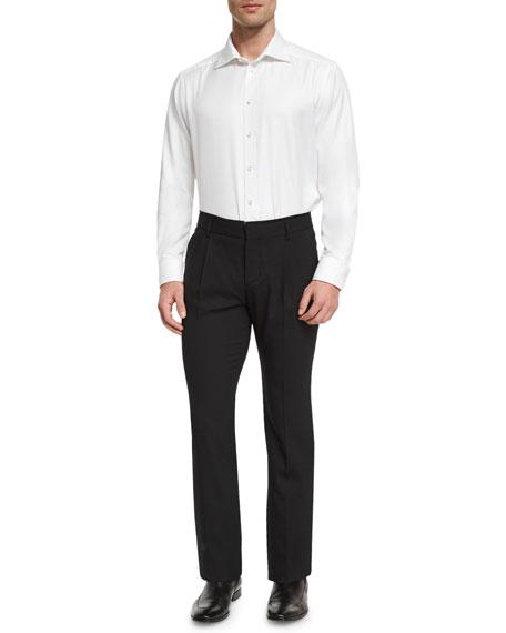 Valentino Pleated-Front Slim-Leg Pants, Black