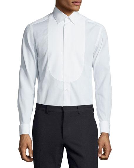 Valentino Smooth-Bib Dress Shirt, White