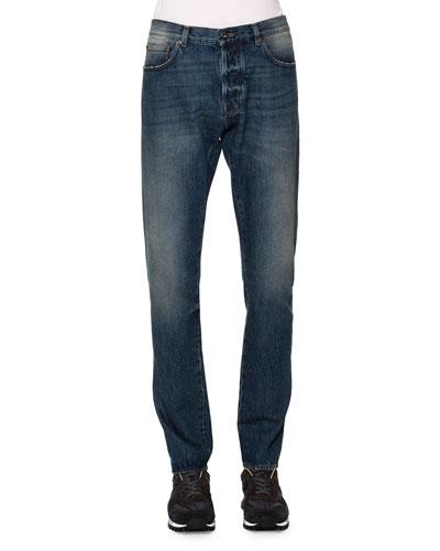Slim-Straight Denim Jeans, Light Blue