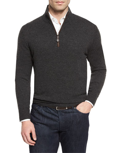 Nano-Cashmere 1/4-Zip Pullover, Charcoal