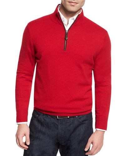 Nano-Cashmere 1/4-Zip Pullover, Red