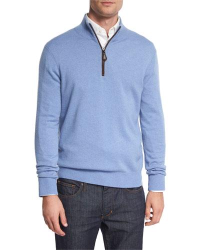 Nano-Cashmere 1/4-Zip Pullover, Sky