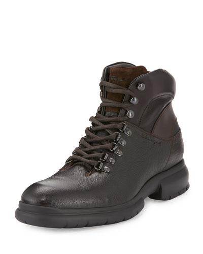 Textured Calfskin Hiker Boot, Brown