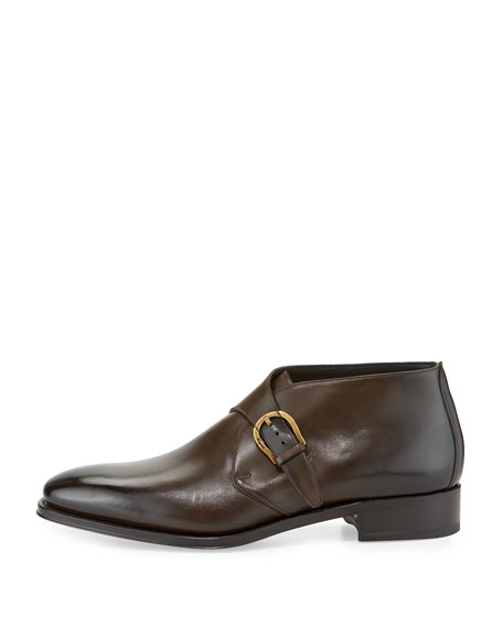 Tramezza Limited Edition Single-Monk Burnished Calfskin Boot, Brown