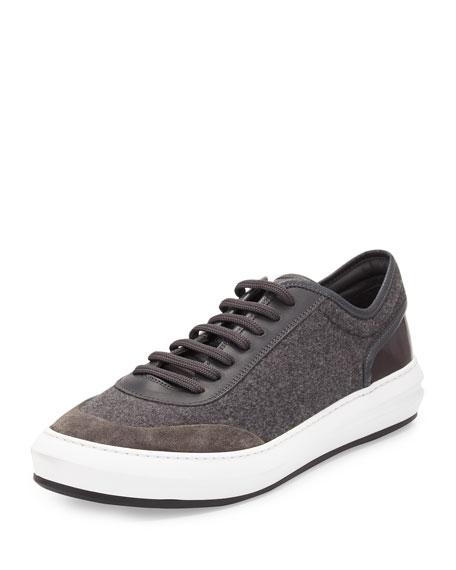 Salvatore Ferragamo Glory Men's Flannel Low-Top Sneaker, Gray