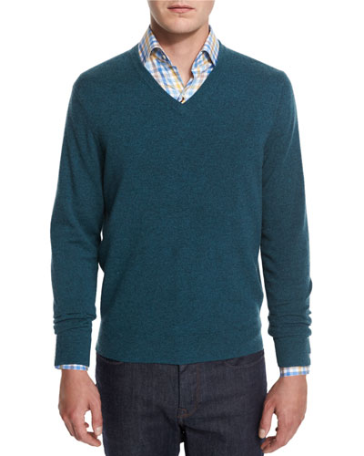 Cashmere V-Neck Sweater, Teal