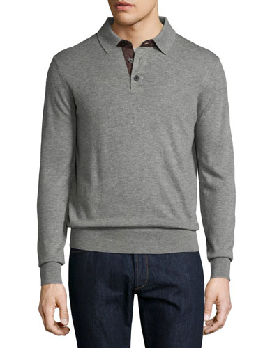 Cashmere Long-Sleeve Polo Sweater, Granite