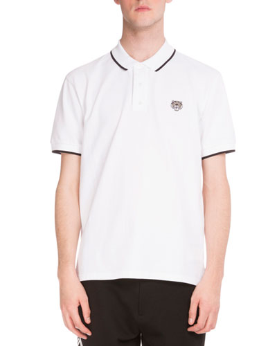 Iconic Tiger Contrast-Tip Polo Shirt, White