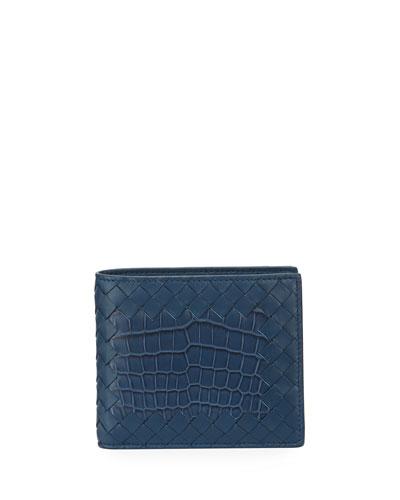 Intrecciato Leather Wallet w/Crocodile Inset