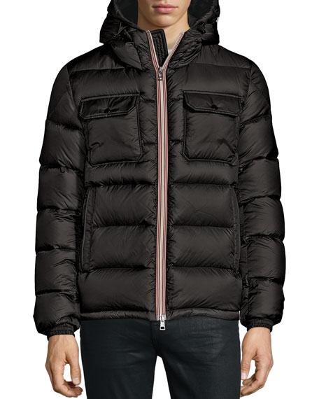 Morane Logo-Stripe Down Jacket, Black