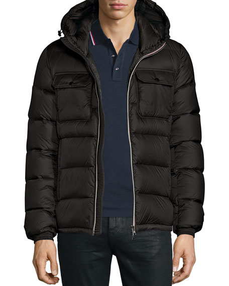 Moncler Morane Logo-Stripe Down Jacket, Black