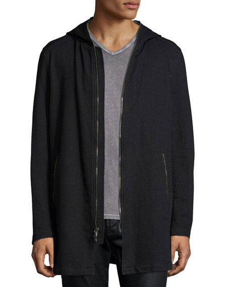 John Varvatos Star USA Long-Line Knit Front-Zip Hoodie,