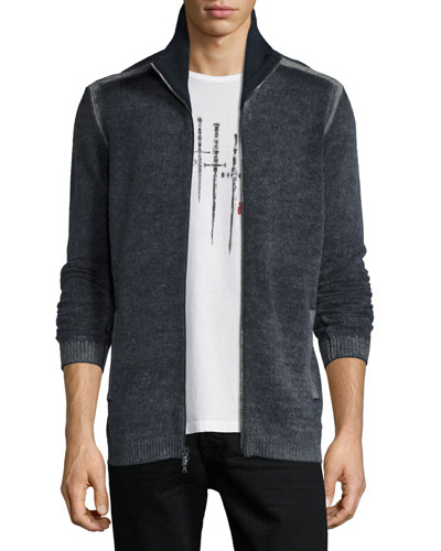 Funnel-Neck Ribbed Front-Zip Sweater, Eclipse