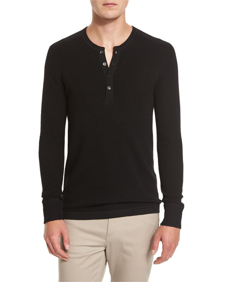 Merino Wool Waffle-Knit Henley Shirt
