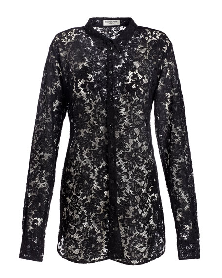 Sheer Embroidered-Lace Long-Sleeve Shirt, Black