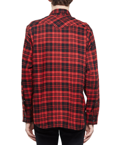 Saint laurent check western style flannel shirt red for Saint laurent check shirt