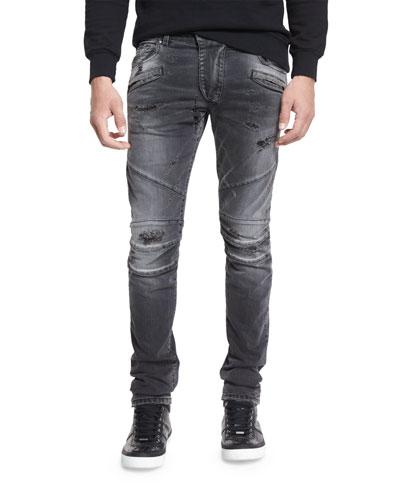 Distressed Slim-Fit Biker Jeans, Black Denim