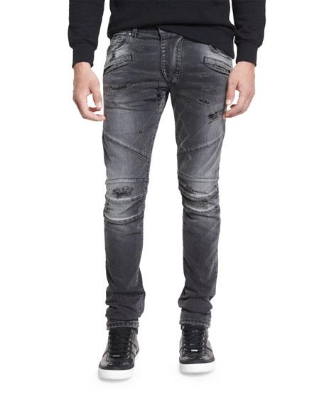 Pierre BalmainDistressed Slim-Fit Biker Jeans, Black Denim