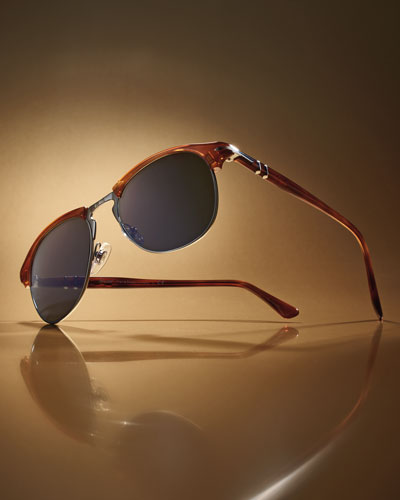 Half-Rim Light-Horn Acetate Sunglasses, Light Brown