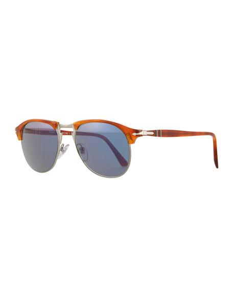 Persol Half-Rim Light-Horn Acetate Sunglasses, Light Brown