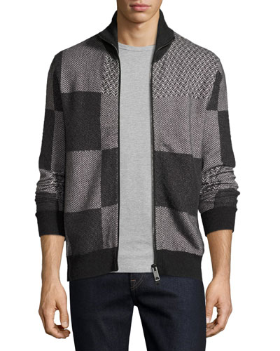 Patchwork Herringbone Front-Zip Sweater, Dark Gray Melange