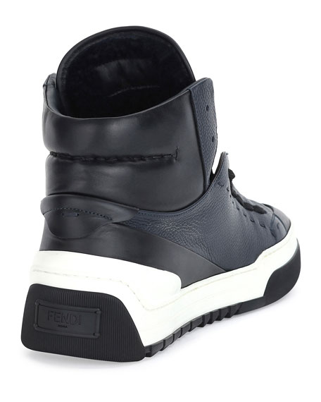 Men's Metal Face Leather High-Top Sneaker, Navy