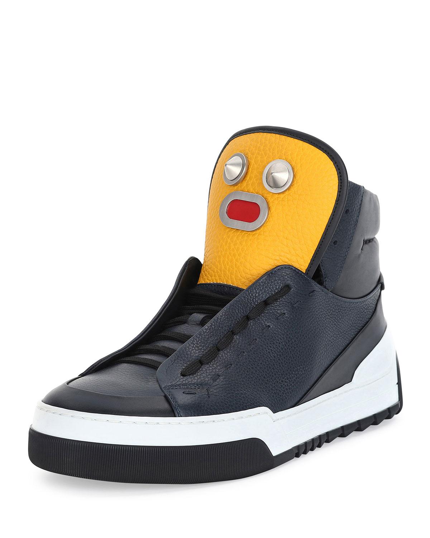 aa047dedf4 Men's Metal Face Leather High-Top Sneaker, Navy