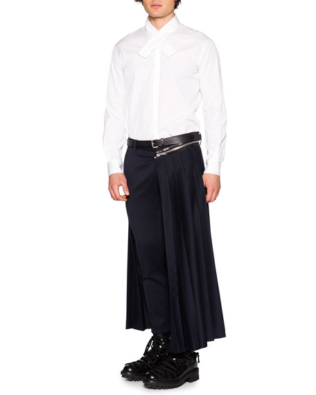 Zipper Pleated Half-Skirt Trousers