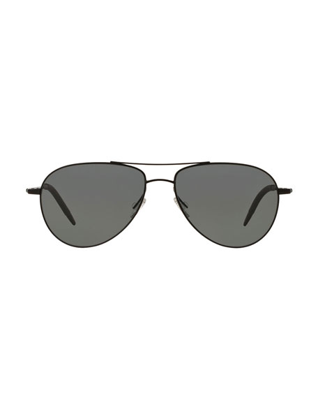 Benedict 59 Metal Aviator Polarized Sunglasses, Black