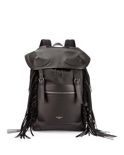 Rider Men's Leather Backpack with Fringe, Black