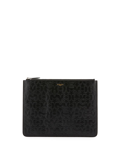 Men's Embossed Logo Leather Pouch, Black