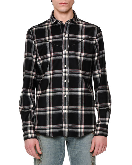 Western-Style Plaid Flannel Shirt, Black