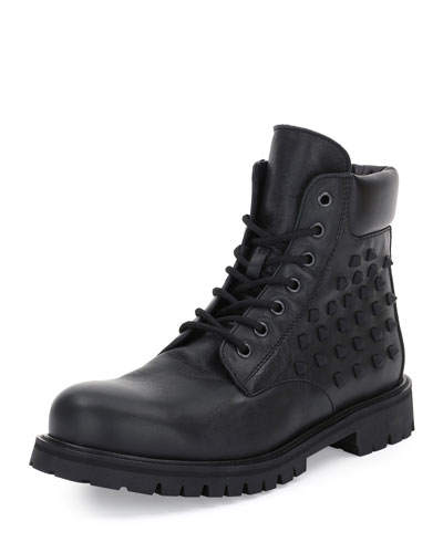 Rockstud Lace-Up Combat Boot, Black