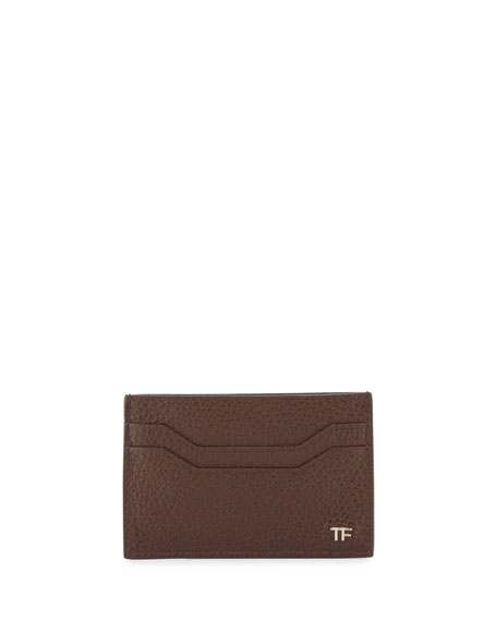 Image 1 of 2: Leather TF Card Case, Chocolate