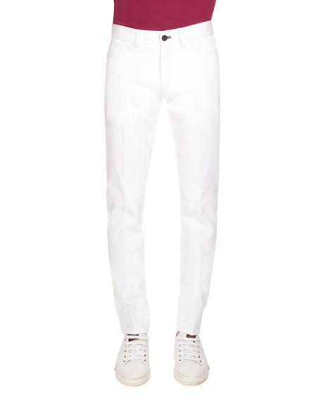 Berluti Five-Pocket Denim Jeans, Optical White