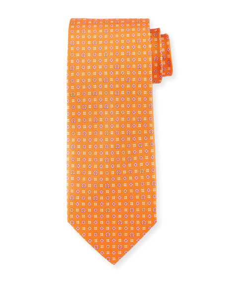Salvatore Ferragamo Neat Gancini-Print Silk Tie, Orange