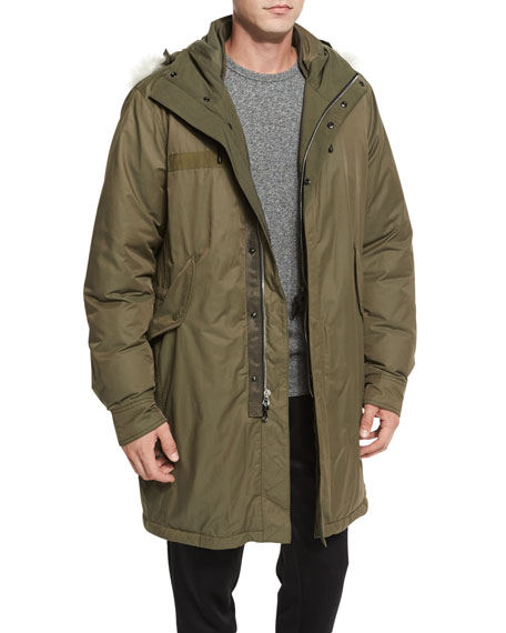 Rag & Bone Bullett Shearling Fur-Trim Down Anorak