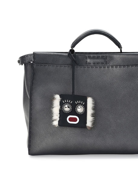 Fendi Monster Face Fur-Trim Luggage Tag w/ Pouch,