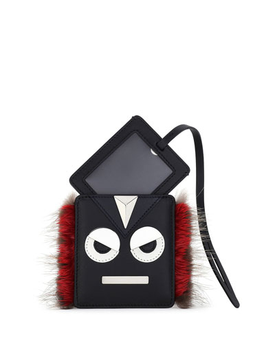 Monster Face Fur-Trim Luggage Tag, Black/Red