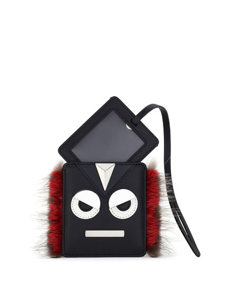 Fendi Monster Face Fur-Trim Luggage Tag, Black/Red