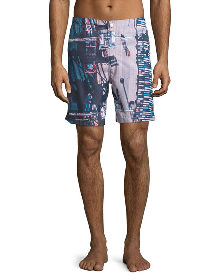 retromarine new york Stockyard-Print Retro Swim Trunks, Multi