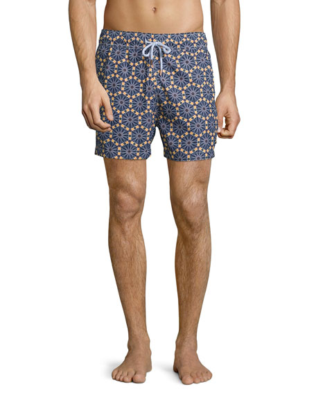 retromarine new york Hexagon-Print Retro Swim Trunks, Navy