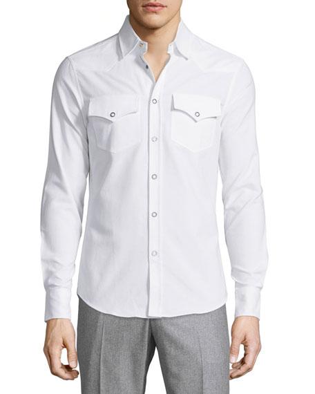 Brunello Cucinelli Snap-Front Dress Shirt, White