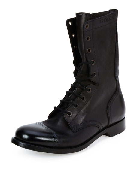Alexander McQueen Cap-Toe Leather Combat Boot, Black