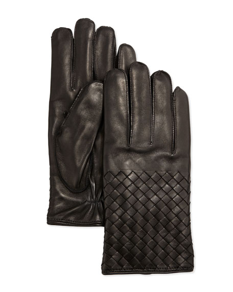 Bottega Veneta Men's Woven Leather Gloves