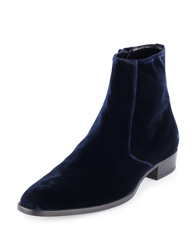 c4e49ea80887c Saint Laurent Eddie Side-Zip Velvet Boot