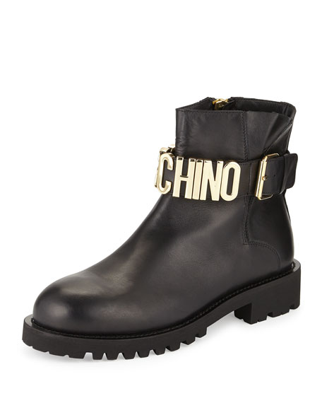 Moschino Leather Combat Boot w/Logo Lettering