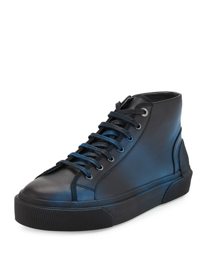 Two-Tone Leather Mid-Top Sneaker, Black/Turquoise